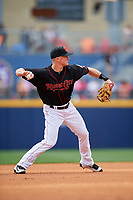 Nashville Sounds third baseman Matt Chapman (7) throws to first base during a game against the New Orleans Baby Cakes on May 1, 2017 at First Tennessee Park in Nashville, Tennessee.  Nashville defeated New Orleans 6-4.  (Mike Janes/Four Seam Images)