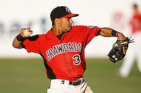 Shortstop Leury Garcia #3 of the Hickory Crawdads makes a throw to first base at  L.P. Frans Stadium May 8, 2010, in Hickory, North Carolina.  Photo by Brian Westerholt / Four Seam Images