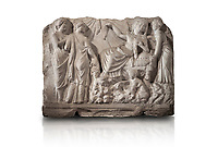 Roman relief sculpture of the Birth of Apollo. Roman 2nd century AD, Hierapolis Theatre.. Hierapolis Archaeology Museum, Turkey. Against an white background