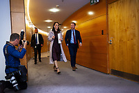 Prime Minister Jacinda Ardern with press secretary Andrew Campbell. The New Zealand government holds its first cabinet meeting at Parliament in Wellington, New Zealand on Friday, November 6, 2020. Photo: Dave Lintott / lintottphoto.co.nz
