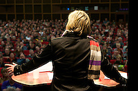 """16. Rosa Luxemburg-Konferenz der linken Tageszeitung """"junge Welt"""".<br /> Am Samstag den 8. Januar 2011 veranstaltete die linke Tageszeitung """"junge Welt"""" ihre traditionelle Rosa Luxemburg-Konferenz. Teilnehmerinnen bei der Abschlussdiskussion waren u.a die Parteivorsitzender der Linkspartei Die LINKE. Gesine Loetzsch (im Bild); die Linkspartei-MdB Ulla Jelpke; die Vorsitzende der Deutschen Kommunistishen Partei DKP Bettina Juergensen; das ehemalige RAF-Mitglied Inge Viet und Katrin Dornheim, Betriebsratsvorsitzende bei der Deutschen Bahn AG in Berlin.<br /> 8.1.2011, Berlin<br /> Copyright: Christian-Ditsch.de<br /> [Inhaltsveraendernde Manipulation des Fotos nur nach ausdruecklicher Genehmigung des Fotografen. Vereinbarungen ueber Abtretung von Persoenlichkeitsrechten/Model Release der abgebildeten Person/Personen liegen nicht vor. NO MODEL RELEASE! Nur fuer Redaktionelle Zwecke. Don't publish without copyright Christian-Ditsch.de, Veroeffentlichung nur mit Fotografennennung, sowie gegen Honorar, MwSt. und Beleg. Konto: I N G - D i B a, IBAN DE58500105175400192269, BIC INGDDEFFXXX, Kontakt: post@christian-ditsch.de<br /> Bei der Bearbeitung der Dateiinformationen darf die Urheberkennzeichnung in den EXIF- und  IPTC-Daten nicht entfernt werden, diese sind in digitalen Medien nach §95c UrhG rechtlich geschuetzt. Der Urhebervermerk wird gemaess §13 UrhG verlangt.]"""