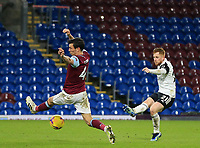 17th February 2021; Turf Moor, Burnley, Lanchashire, England; English Premier League Football, Burnley versus Fulham; Jack Cork of Burnley attempts to block the shot of Harrison Reed of Fulham
