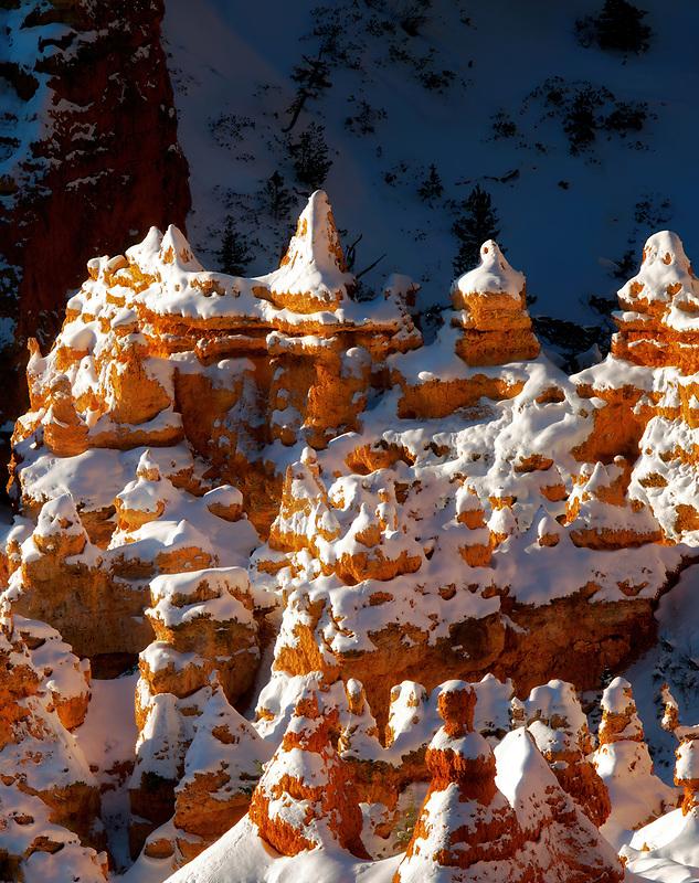 Snow on hoodoos. Bryce Canyon National Park, Utah.