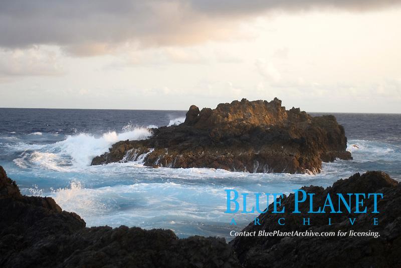 Wave crashing over South islet, St. Peter and St. Paul's rocks, Brazil, Atlantic Ocean