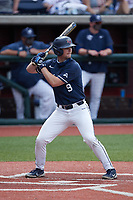 Aaron Anderson (9) of the Liberty Flames at bat against the Bellarmine Knights at Liberty Baseball Stadium on March 9, 2021 in Lynchburg, VA. (Brian Westerholt/Four Seam Images)