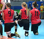Danielle Ellis, Jennifer Oakes, and Heidi Peters, Rio 2016 - Sitting Volleyball // Volleyball assis.<br /> Canada competes against Rwanda in the Women's Sitting Volleyball Preliminary // Le Canada affronte le Rwanda dans le tournoi préliminaire de volleyball assis féminin. 15/09/2016.