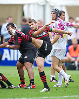 20120823 Copyright onEdition 2012©.Free for editorial use image, please credit: onEdition..Richard Wigglesworth of Saracens sends up a box kick  at The Honourable Artillery Company, London in the pre-season friendly between Saracens and Stade Francais Paris...For press contacts contact: Sam Feasey at brandRapport on M: +44 (0)7717 757114 E: SFeasey@brand-rapport.com..If you require a higher resolution image or you have any other onEdition photographic enquiries, please contact onEdition on 0845 900 2 900 or email info@onEdition.com.This image is copyright the onEdition 2012©..This image has been supplied by onEdition and must be credited onEdition. The author is asserting his full Moral rights in relation to the publication of this image. Rights for onward transmission of any image or file is not granted or implied. Changing or deleting Copyright information is illegal as specified in the Copyright, Design and Patents Act 1988. If you are in any way unsure of your right to publish this image please contact onEdition on 0845 900 2 900 or email info@onEdition.com
