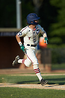 Jack Hennessy (7) (USC-Upstate) of the High Point-Thomasville HiToms hustles down the first base line against the Statesville Owls at Finch Field on July 19, 2020 in Thomasville, NC. The HiToms defeated the Owls 21-0. (Brian Westerholt/Four Seam Images)