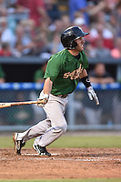Savannah Sand Gnats second baseman Jonathan Johnson #5 swings at a pitch during a game against the Asheville Tourists at McCormick Field September 3, 2014 in Asheville, North Carolina. The Tourists defeated the Sand Gnats 8-3. (Tony Farlow/Four Seam Images)