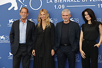 """VENICE, ITALY - SEPTEMBER 10: Vincent Lindon, Sandrine Kiberlain, Stéphane Brizé and Marie Drucke at the photocall for """"Un Autre Monde"""" during the 78th Venice International Film Festival on September 10, 2021 in Venice, Italy. <br /> CAP/GOL<br /> ©GOL/Capital Pictures"""