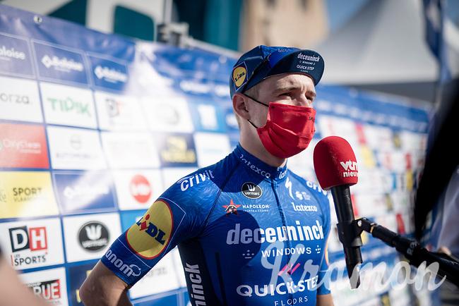 post-stage interview for stage winner & GC leader Remco Evenepoel (BEL/Deceuninck-QuickStep) <br /> <br /> 91st Baloise Belgium Tour 2021 (BEL/2.Pro)<br /> Stage 2 (ITT) from Knokke-Heist to Knokke-Heist (11.2km)<br /> <br /> ©kramon