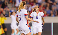 HOUSTON, TX - FEBRUARY 03: Tobin Heath #17 and Samantha Mewis #3 of the United States celebrate a goal during a game between Costa Rica and USWNT at BBVA Stadium on February 03, 2020 in Houston, Texas.