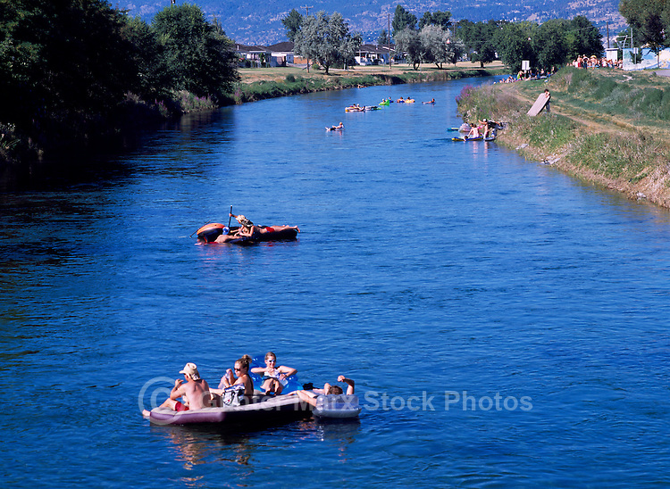 Floating on the Okanagan River Channel, Penticton, BC, South Okanagan Valley, British Columbia, Canada