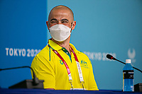 Chef de Mission Kate McLoughlin, 5 time Paralympian Tristan Knowles and head of media and broadcast and deputy chef de mission Tim Mannion address the media at a media conference at the Main Press Centre. 2020 Tokyo Paralympic Games<br /> Paralympics Australia / Day 0<br /> Tokyo Japan :  Tuesday 24th Aug 2021<br /> © Sport the library / Drew Chislett/ PA
