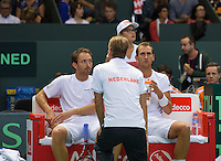 Switserland, Genève, September 19, 2015, Tennis,   Davis Cup, Switserland-Netherlands, Doubles:  Dutch team Thiemo de Bakker/Matwe Middelkoop (L) in he middle captain Jan Siemerink<br /> Photo: Tennisimages/Henk Koster