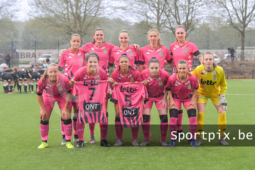 teampicture Sporting Charleroi ( Alysson Duterne (14) , Noemie Fourdin (11) , Renate Mehevets (15) , Ludmila Matavkova (9) , Estelle Dessilly (13) and Megane Vos (20) , Madison Hudson (8) , Jessica Silva Valdebenito (18) , Chrystal Lermusiaux (2) , Jeanne Bouchenna (10) , goalkeeper Ambre Collet (1) ) before a female soccer game between Sporting Charleroi and Eendracht Aalst on the 8th matchday in play off 2 of the 2020 - 2021 season of Belgian Scooore Womens Super League , tuesday 18 th of May 2021 in Marcinelle , Belgium . PHOTO SPORTPIX.BE | SPP | STIJN AUDOOREN