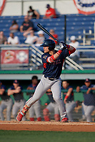 Lowell Spinners Nick Decker (21) at bat during a NY-Penn League game against the Batavia Muckdogs on July 10, 2019 at Dwyer Stadium in Batavia, New York.  Batavia defeated Lowell 8-6.  (Mike Janes/Four Seam Images)