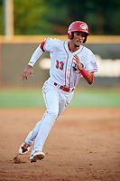 Greeneville Reds shortstop Miguel Hernandez (33) runs the bases during a game against the Pulaski Yankees on July 27, 2018 at Pioneer Park in Tusculum, Tennessee.  Greeneville defeated Pulaski 3-2.  (Mike Janes/Four Seam Images)
