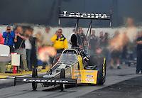 Nov. 10, 2011; Pomona, CA, USA; NHRA top fuel dragster driver Mike Ashley during qualifying at the Auto Club Finals at Auto Club Raceway at Pomona. Mandatory Credit: Mark J. Rebilas-.