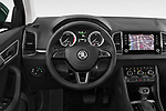Car pictures of steering wheel view of a 2018 Skoda Karoq Ambition 5 Door SUV