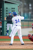 D.J. Ruhlman (34) of the Seton Hall Pirates at bat against the Cornell Big Red at The Ripken Experience on February 27, 2015 in Myrtle Beach, South Carolina.  The Pirates defeated the Big Red 3-0.  (Brian Westerholt/Four Seam Images)