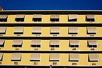 Yellow apartment building, close up