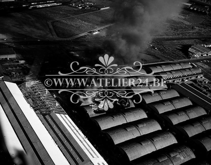 Maart 1970. Brand in de haven van Antwerpen.