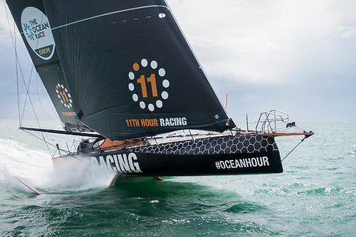 The first new flying IMOCA launched with the Ocean Race in mind — one of two boats entered by 11th Hour Racing | Credit: Amory Ross/11th Hour Racing