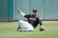 Charlotte Knights left fielder Blake Rutherford (6) makes a running catch of a fly ball during the game against the Durham Bulls at Truist Field on August 28, 2021 in Charlotte, North Carolina. (Brian Westerholt/Four Seam Images)