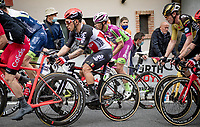 final grupetto, including Caleb Ewan (AUS/Lotto-Soudal), up the 15% climb in Guarene, 15 kilometers from the finish <br /> <br /> 104th Giro d'Italia 2021 (2.UWT)<br /> Stage 3 from Biella to Canale (190km)<br /> <br /> ©kramon