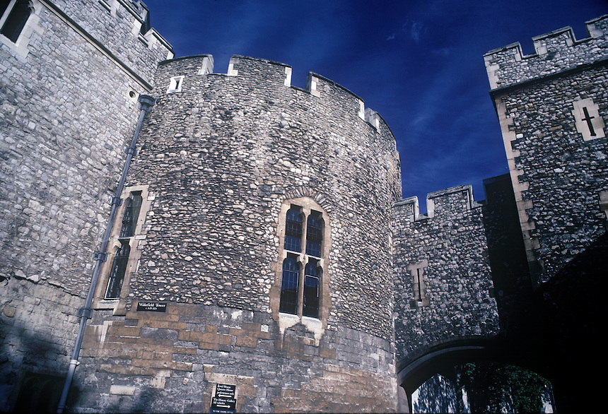 The Bell Tower, part of the stone walls and fortifications of the Tower of London.  London, England, UK