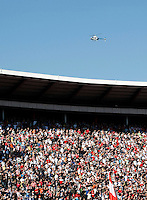 Police helicopter cruise over Red Star stadium, during the Serbian League soccer match in Belgrade, Serbia, Saturday, October  24, 2010. (Srdjan Stevanovic/Starsportphoto.com)