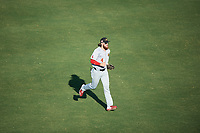 Mesa Solar Sox center fielder Brandon Marsh (4), of the Los Angeles Angels organization, jogs off the field between innings of an Arizona Fall League game against the Yaquis de Obregon as part of the Mexican Baseball Fiesta on September 29, 2019 at Sloan Park in Mesa, Arizona. Mesa defeated Obregon 7-0. (Zachary Lucy/Four Seam Images)