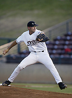 Justin Germano of the Lake Elsinore Storm pitches during a California League 2002 season game at The Diamond, in Lake Elsinore, California. (Larry Goren/Four Seam Images)