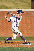 Kyle Brandenburg (5) of the High Point Panthers follows through on his swing against the Bowling Green Falcons at Willard Stadium on March 9, 2014 in High Point, North Carolina.  The Falcons defeated the Panthers 7-4.  (Brian Westerholt/Four Seam Images)