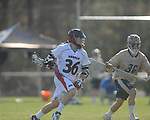 Ole MIss' Patrick Fulton (36) vs. Georgia Tech's Zach Ilisevich (36) in lacrosse at the Ole Miss Intramural Fields in Oxford, Miss. on Saturday, February 2, 2013. Georgia Tech won 8-5.