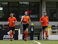 Referee Tom Stevens with assistant referee Tom Dillen (L) and Bryan Bijnens (R) warming up before a female soccer game between Oud Heverlee Leuven and AA Gent Ladies on the 9 th matchday of play off 1 in the 2020 - 2021 season of Belgian Womens Super League , saturday 22 nd of May 2021  in Heverlee , Belgium . PHOTO SPORTPIX.BE | SPP | SEVIL OKTEM