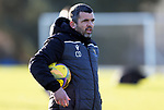 St Johnstone Training….Manager Callum Davidson pictured during training at McDiarmid Park ahead of Sundays game against Celtic.<br />