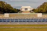 Lincoln Memorial, Washington, D.C., from World War II Memorial, early morning.