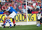 St Johnstone v Aberdeen....18.08.12   SPL.Jamie Adams battles with Gavin Rae.Picture by Graeme Hart..Copyright Perthshire Picture Agency.Tel: 01738 623350  Mobile: 07990 594431