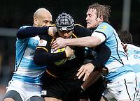 Photo: Richard Lane/Richard Lane Photography. London Wasps v Worcester Warriors. 01/01/2012. Wasps' Marco Wentzel  attacks.