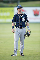 Brendan Rodgers (1) of the Asheville Tourists warms up in the outfield prior to the game against the Kannapolis Intimidators at Kannapolis Intimidators Stadium on May 26, 2016 in Kannapolis, North Carolina.  The Tourists defeated the Intimidators 9-6 in 11 innings.  (Brian Westerholt/Four Seam Images)