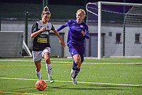Aalst's midfielder Justine Blave (22) and Anderlecht midfielder Charlotte Tisson (20)pictured during a female soccer game between RSC Anderlecht Dames and Eendracht Aalst Ladies  on the fourth matchday of the 2020 - 2021 season of Belgian Womens Super League , Tuesday 13 th of October 2020  in ANDERLECHT , Belgium . PHOTO SPORTPIX.BE | SPP | STIJN AUDOOREN