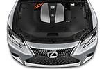 Car stock 2018 Lexus LS 500h 4 Door Sedan engine high angle detail view