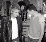 "Roger Taylor, Brian May and John Deacon of Queen attend Queen Press Conference for ""Hot Space"" at Crazy Eddie's on July 27, 1982  in New York City."