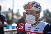 Mads Pedersen (DEN/Trek - Segafredo) interviewed at the start<br /> <br /> 73rd Kuurne - Brussels - Kuurne 2021<br /> ME (1.Pro)<br /> 1 day race from Kuurne to Kuurne (BEL/197km)<br /> <br /> ©kramon