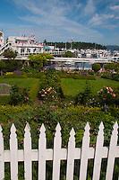 White Picket Fence and Formal Garden at Roche Harbor, San Juan Island, Washington, US