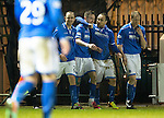 St Mirren v St Johnstone...25.03.14    SPFL<br /> Steven MacLean celebrates his goal with Dave Mackay, Lee Croft and Steven Anderson<br /> Picture by Graeme Hart.<br /> Copyright Perthshire Picture Agency<br /> Tel: 01738 623350  Mobile: 07990 594431