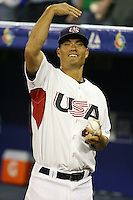 March 7, 2009:  Pitcher Jeremy Guthrie (46) of Team USA during the first round of the World Baseball Classic at the Rogers Centre in Toronto, Ontario, Canada.  Team USA defeated Canada 6-5 in both teams opening game of the tournament.  Photo by:  Mike Janes/Four Seam Images