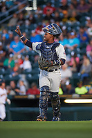 Fort Myers Miracle catcher Brian Navarreto (23) signals two out during a game against the Bradenton Marauders on April 9, 2016 at McKechnie Field in Bradenton, Florida.  Fort Myers defeated Bradenton 5-1.  (Mike Janes/Four Seam Images)